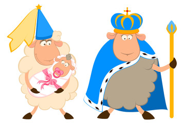 Vector king of sheep in a crown with a princess