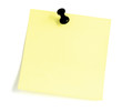 Blank Sticky note With Black Pushpin Isolated