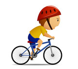 Bicyclist in yellow shirt poster