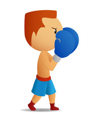 Boxer in blue gloves