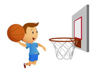 Flying basketball player