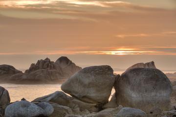 A dramatic ocean coast landscape in Galicia in Spain