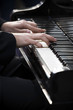Playing piano, outdoors entertainment