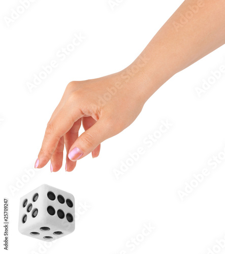 Hand throwing big dice