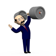 Businessman holding a barbell
