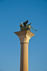 San Marco column located at Venice, Italy
