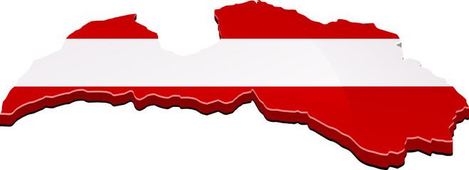 Carte de la Lettonie 3D drapeau (détouré)