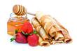 Crêpes à la confiture de fraises et miel