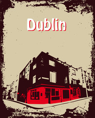 grunge styled card of Dublin / Ireland
