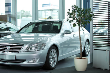 Modern car displayed at showroom