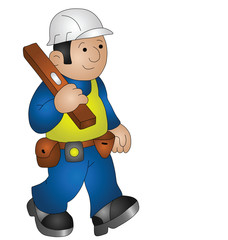 Cartoon builder wearing personal protection equipment