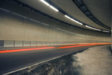 Car lights trails in a tunnel poster