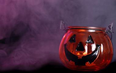 glass halloween pumpkin candle holder with smoke