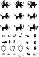 heraldic lion set