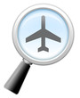 """Magnifying Glass Icon """"Air Travel"""""""
