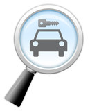 "Magnifying Glass Icon ""Car Rentals"""