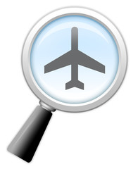 "Magnifying Glass Icon ""Air Travel"""