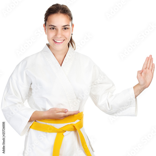 Martial arts girl, isolated on white
