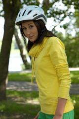 Portrait of woman in cycle helmet