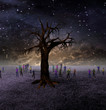 People Gather Around Large Tree on Barren World