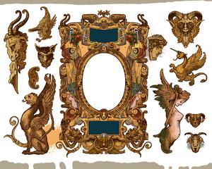 Heraldic frame design elements