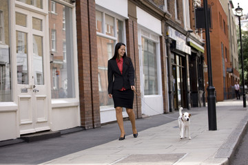 A businesswoman walking her dog in the street