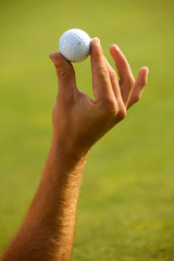 Close-up of human hand holding golf ball