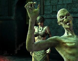 Blinde Frau und Zombie im Dungeon