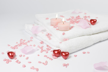 Love bath - hearts, candles and towels