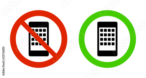 Pictogram - Prohibition red signs (Telephone Smartphone-type)
