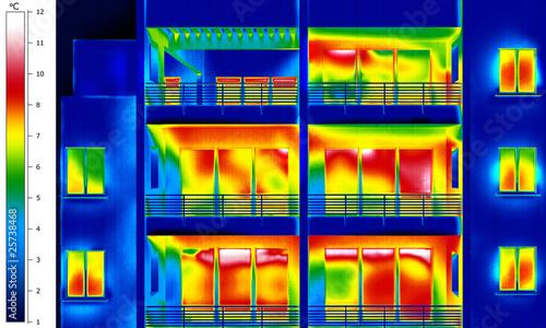 Leinwandbild Motiv Apartment building thermal imaging