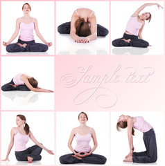 collage of a woman meditating photos
