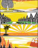 Popart landscape banners poster