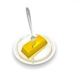 Fork in gold ingot poster