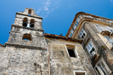 Decayed old church and houses, Corfu City Greece poster