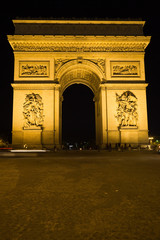 The Arc of Triomphe at night, Paris