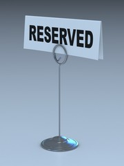reserved sign 3d illustration