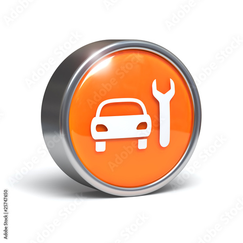 Car service - 3D button with clipping path