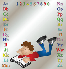 Children's learning aid with cartoon boy reading