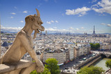 Notre Dame: Chimera (demon) overlooking the Eiffel Tower