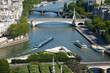 Paris Aerial view: river Seine at the corner of Ile de la Cite