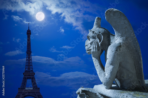 Notre Dame Chimera and Eiffel tower under the moon of Paris