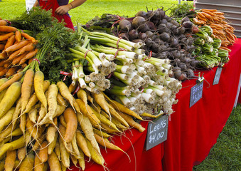 Display of organic vegetables at Farmers Market