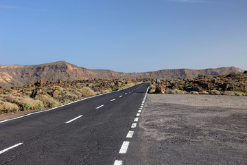 Road to volcano El Teide. Tenerife, Canary Islands.