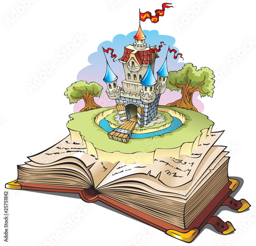 Foto op Aluminium Kasteel Magic world of tales, cartoon vector illustration