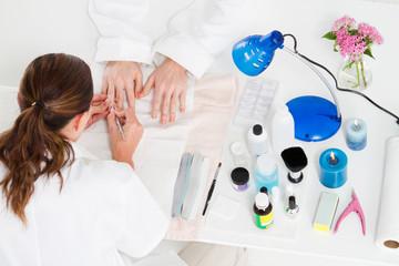 overhead of manicure in progress
