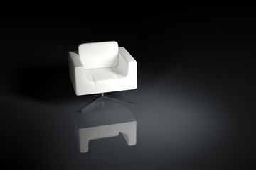 A white armchair on a black background