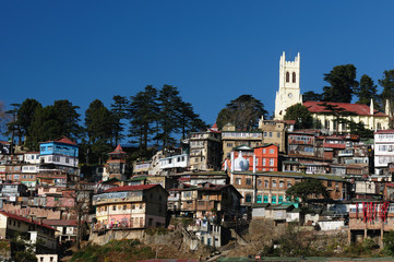 India - View on the Shimla city in Himalaya mountains