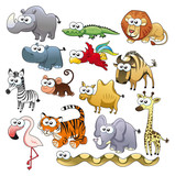 Fototapety Savannah animal family. Funny cartoon and vector characters.