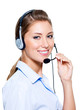 Happy woman in headset
